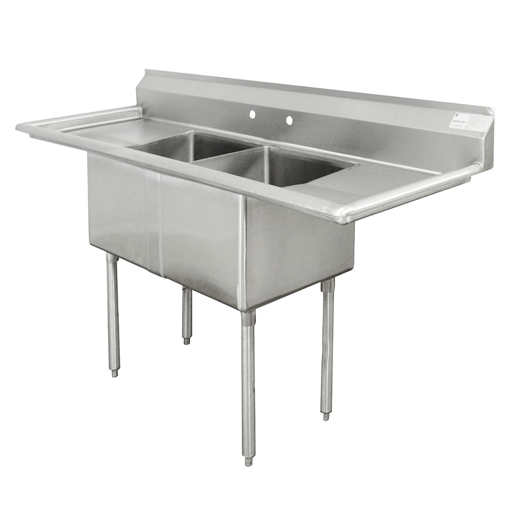"Advance Tabco FE-2-1620-18RL 2-Compartment Sink w/ 16""W x 20""L Bowl, 12"" Deep"