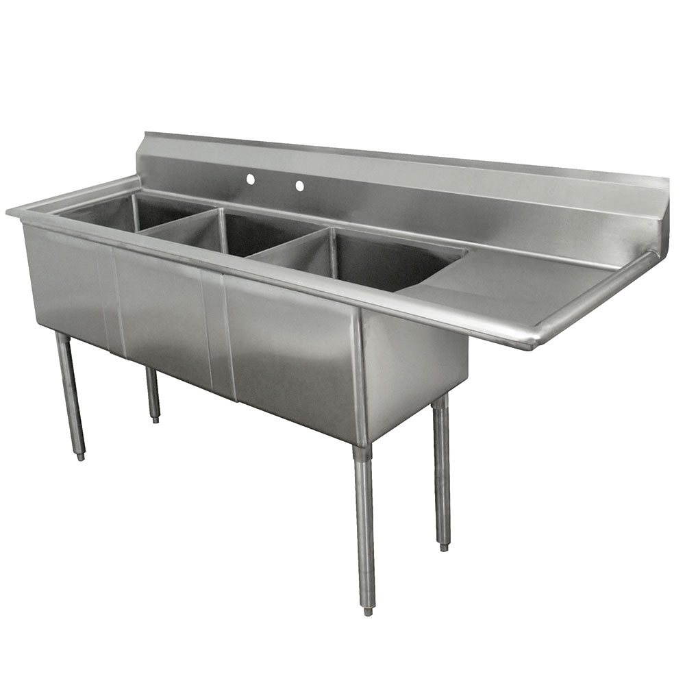 "Advance Tabco FE-3-1515-15R-X 50"" 3-Compartment Sink w/ 15""L x 15""W Bowl, 12"" Deep"