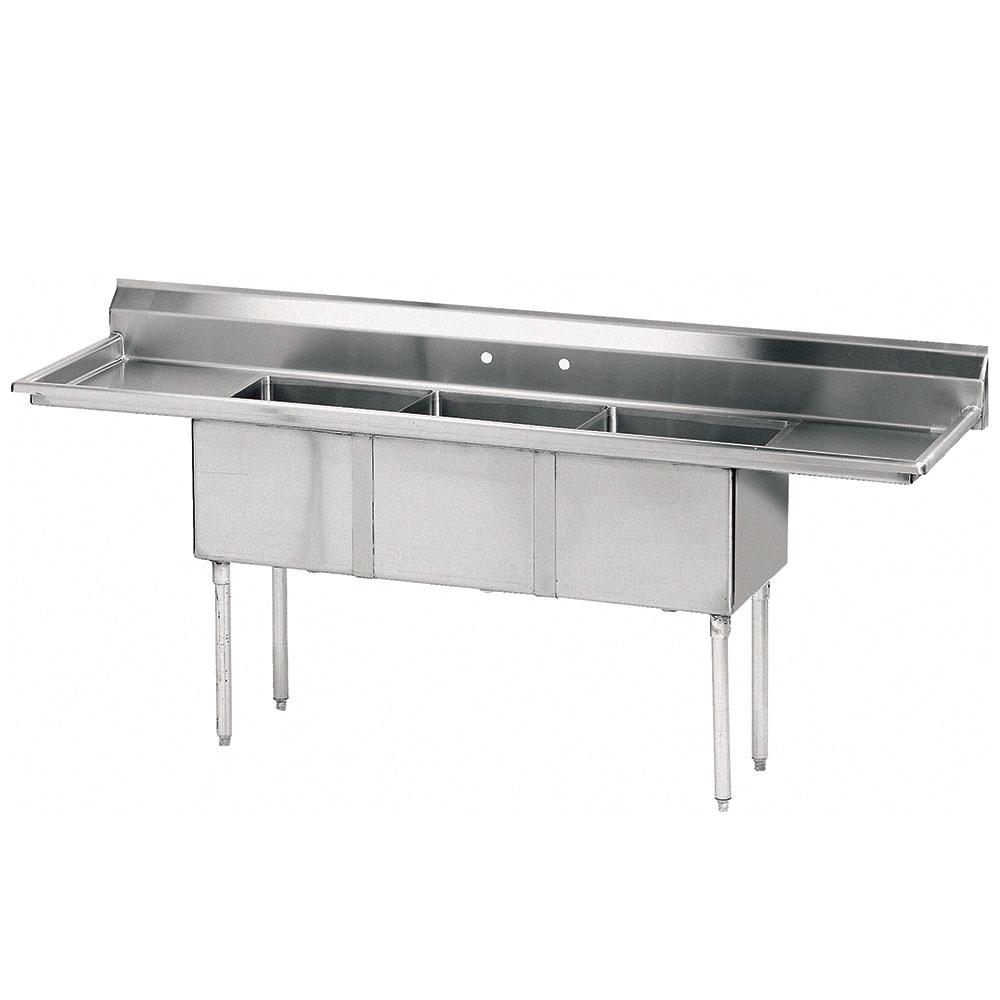 "Advance Tabco FE-3-1620-18RL-X 68.5"" 3-Compartment Sink w/ 16""L x 20""W Bowl, 12"" Deep"