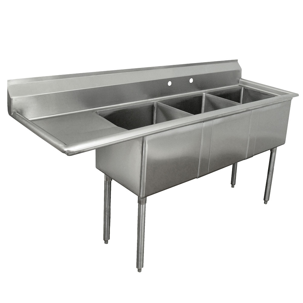 "Advance Tabco FE-3-1812-18L-X 90"" 3-Compartment Sink w/ 18""L x 18""W Bowl, 12"" Deep"