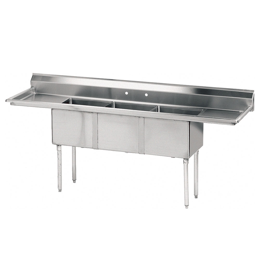 "Advance Tabco FE-3-1812-18RL-X 59"" 3-Compartment Sink w/ 18""L x 18""W Bowl, 12"" Deep"