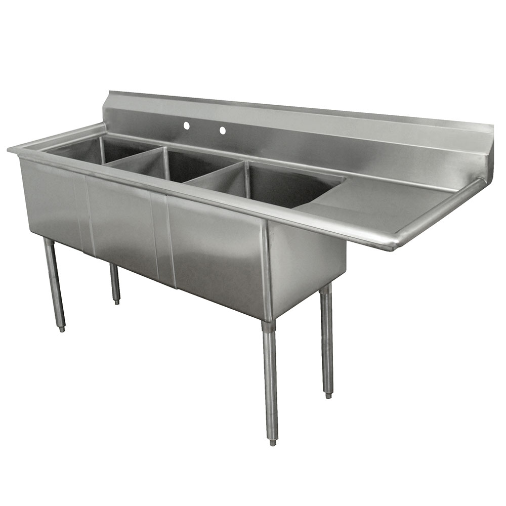 "Advance Tabco FE-3-1812-18R-X 74.5"" 3-Compartment Sink w/ 18""L x 18""W Bowl, 12"" Deep"