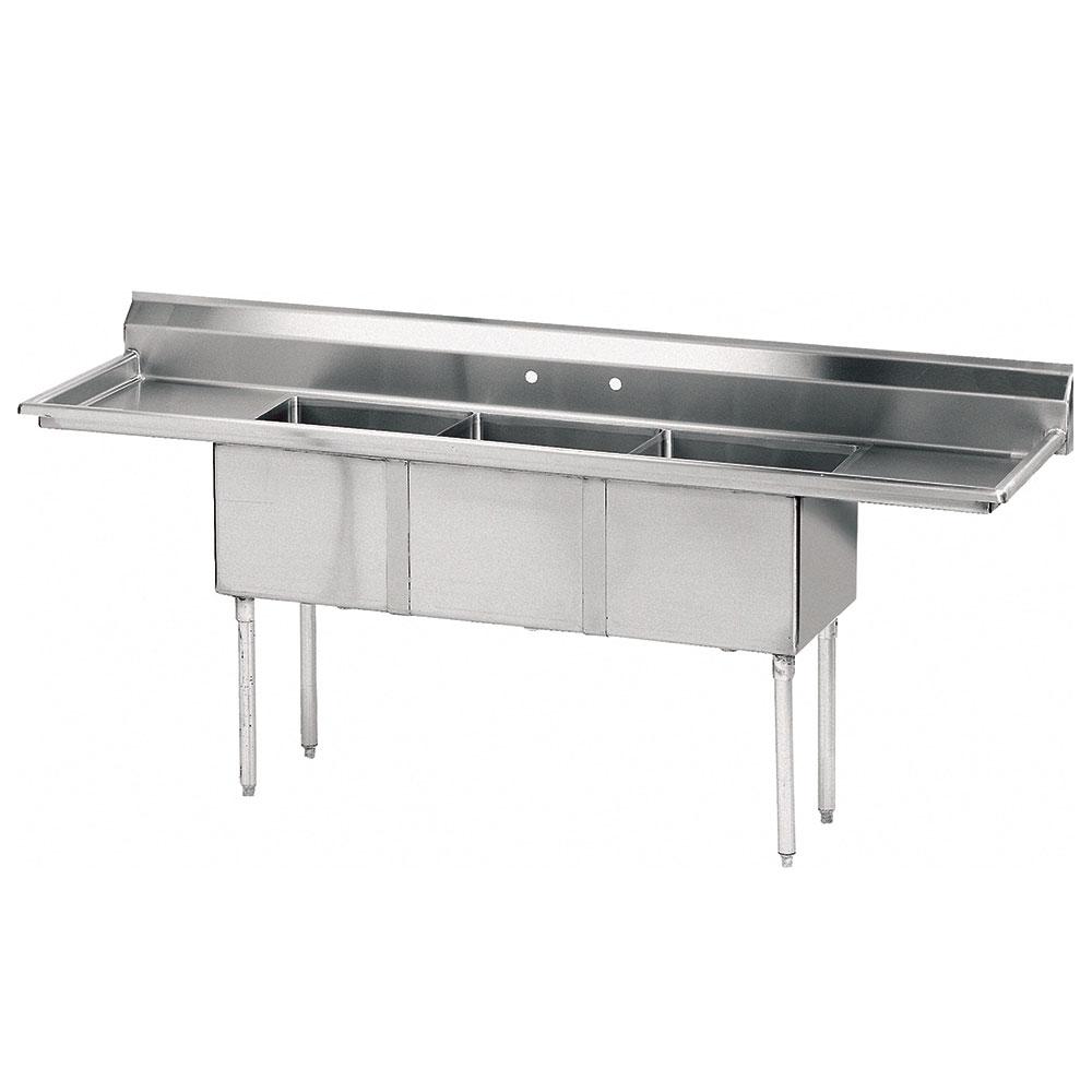 "Advance Tabco FE-3-1812-24RL 102"" 3-Compartment Sink w/ 18""L x 24""W Bowl, 12"" Deep"