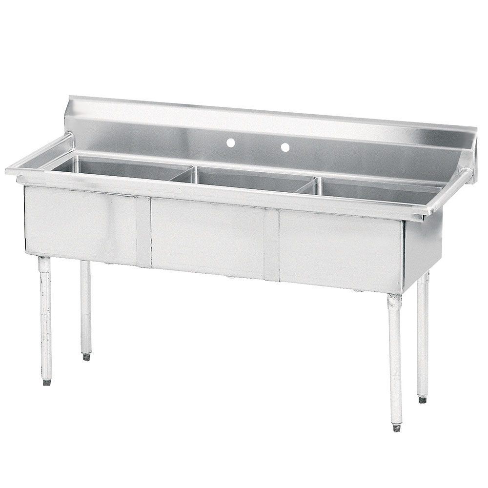 "Advance Tabco FE-3-1812-X 74.5"" 3-Compartment Sink w/ 18""L x 18""W Bowl, 12"" Deep"