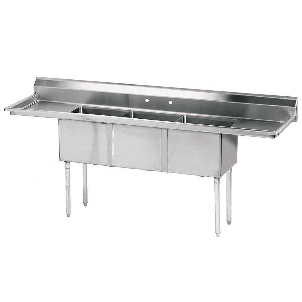 "Advance Tabco FE-3-1824-24RL-X 102"" 3-Compartment Sink w/ 18""L x 24""W Bowl, 14"" Deep"