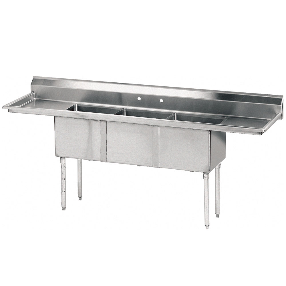 "Advance Tabco FE-3-2424-24RL Fabricated Sink - 24"" Left Drainboard, 3-Bowl, 18-ga 304 Stainless Steel"