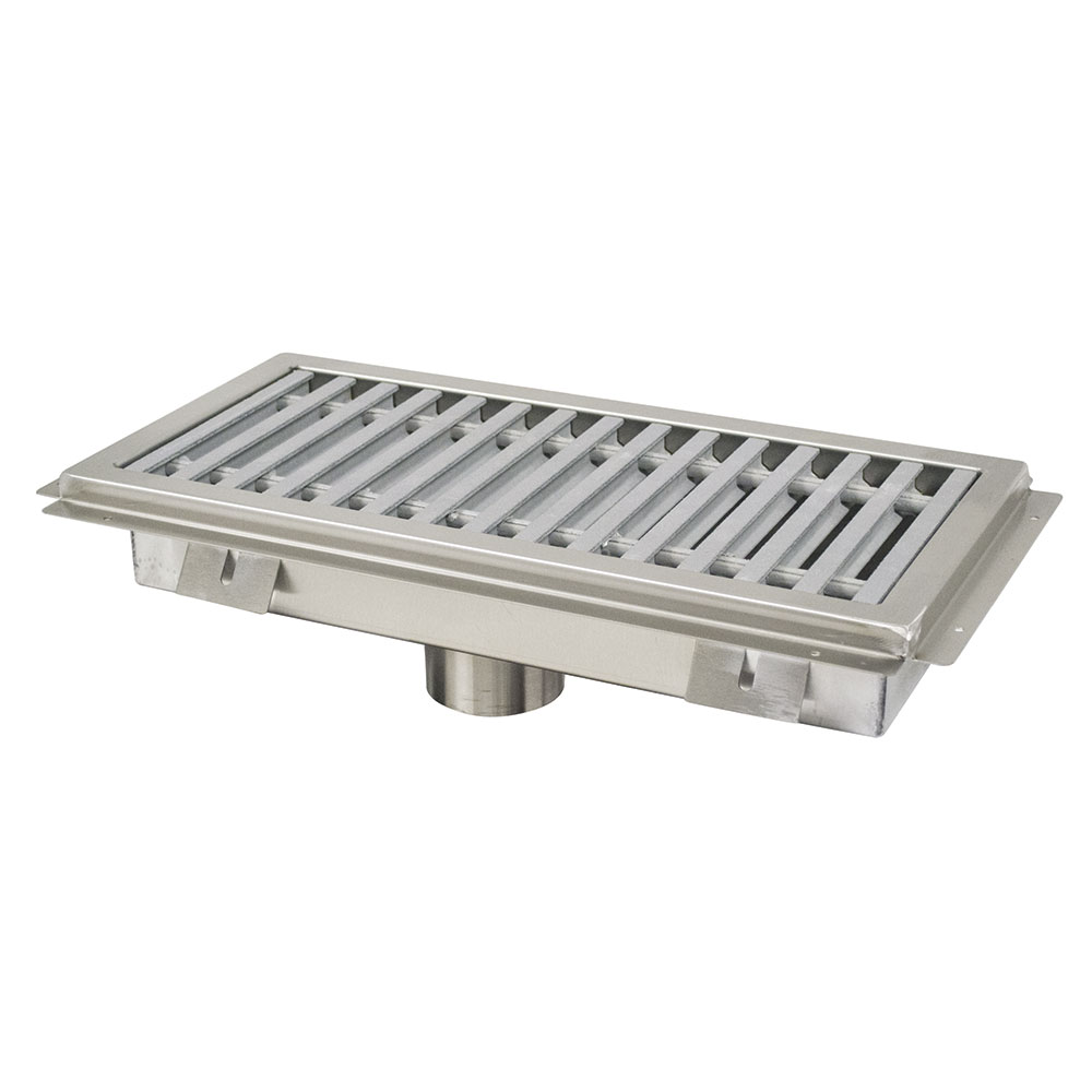 Advance Tabco FFTG-1842 Floor Trough - Removable Strainer Basket, Fiberglass Grating, 18x42x4