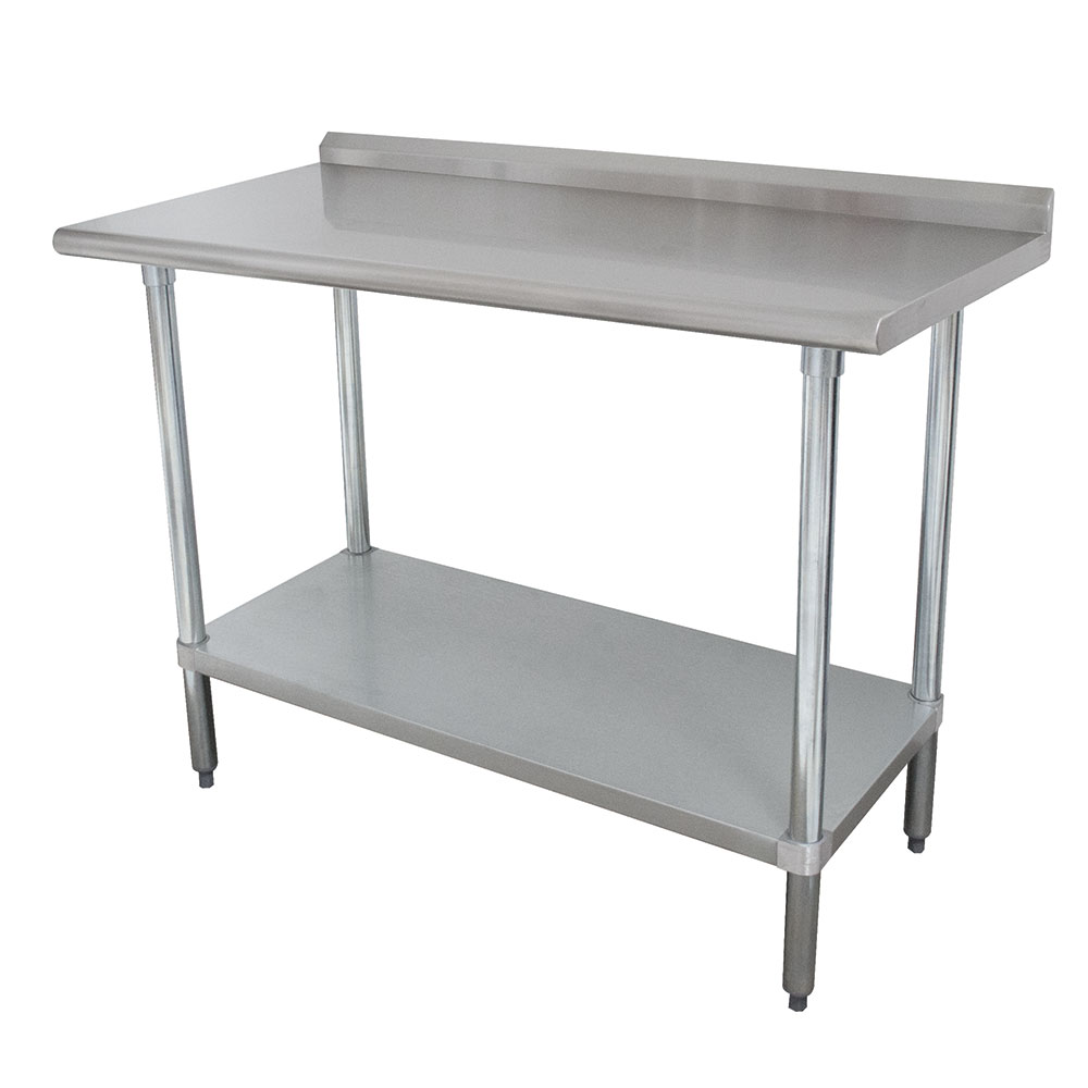 "Advance Tabco FLAG-248 96"" 16-ga Work Table w/ Undershelf & 430-Series Stainless Top, 1.5"" Backsplash"