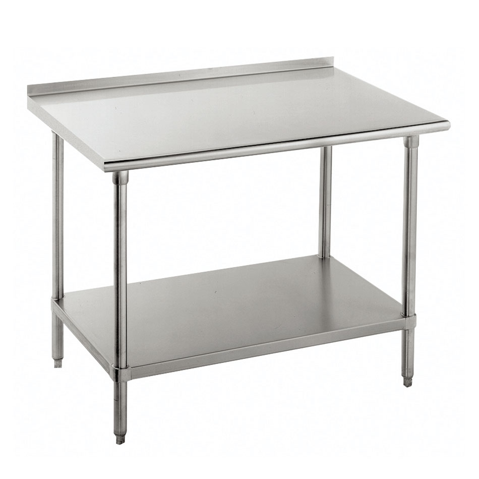 "Advance Tabco FLG-3010 120"" 14-ga Work Table w/ Undershelf & 304-Series Stainless Top, 1.5"" Backsplash"