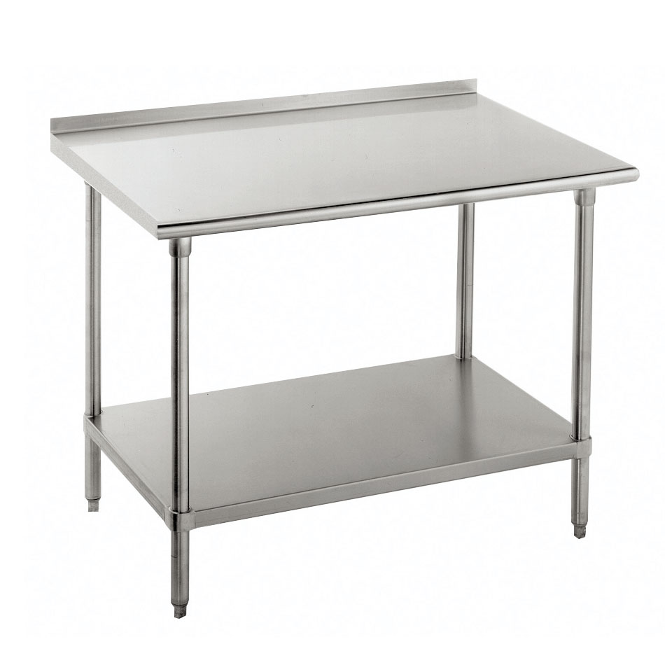 "Advance Tabco FMS-307 84"" 16-ga Work Table w/ Undershelf & 304-Series Stainless Top, 1.5"" Backsplash"