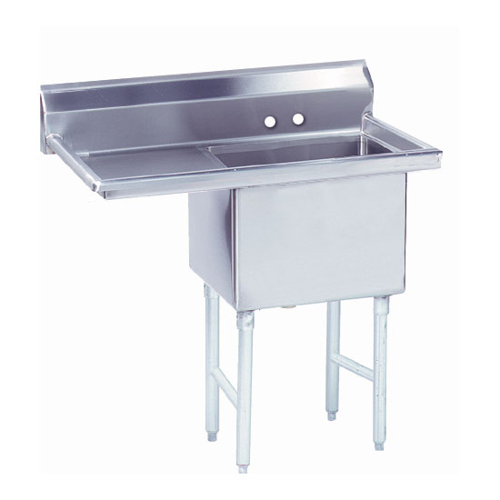 """Advance Tabco FS-1-1824-18L 38.5"""" 1-Compartment Sink w/ 18""""L x 24""""W Bowl, 14"""" Deep"""