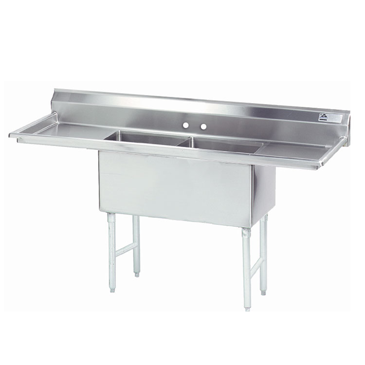 "Advance Tabco FS-2-1824-18RL 72"" 2-Compartment Sink w/ 18""L x 24""W Bowl, 14"" Deep"