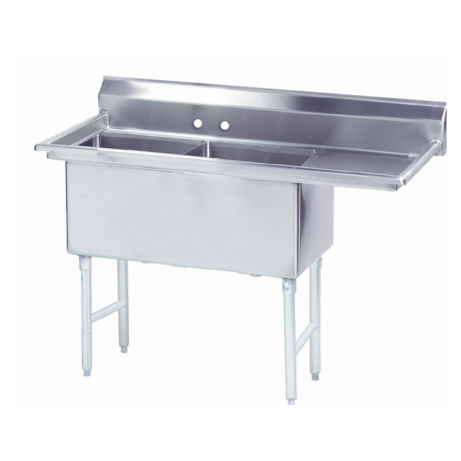 "Advance Tabco FS-2-1824-24R 62.5"" 2-Compartment Sink w/ 18""L x 24""W Bowl, 14"" Deep"