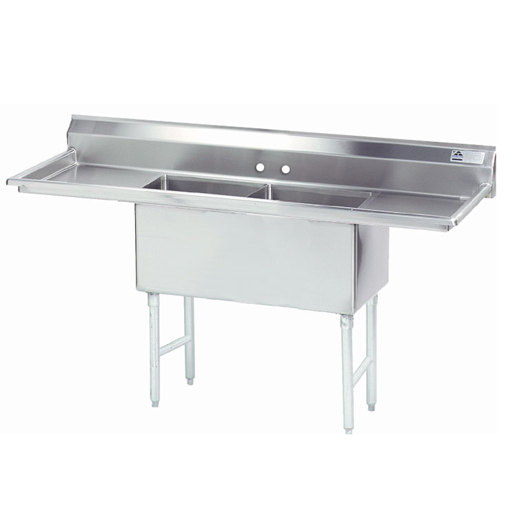 "Advance Tabco FS-2-1824-24RL 84"" 2-Compartment Sink w/ 18""L x 24""W Bowl, 14"" Deep"