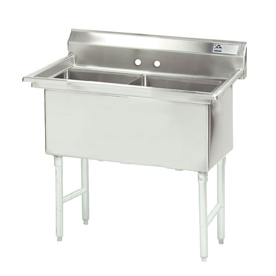 "Advance Tabco FS-2-1824 41"" 2-Compartment Sink w/ 18""L x 24""W Bowl, 14"" Deep"