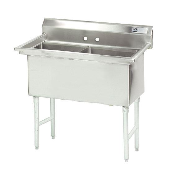 """Advance Tabco FS-2-1824 41"""" 2-Compartment Sink w/ 18""""L x 24""""W Bowl, 14"""" Deep"""