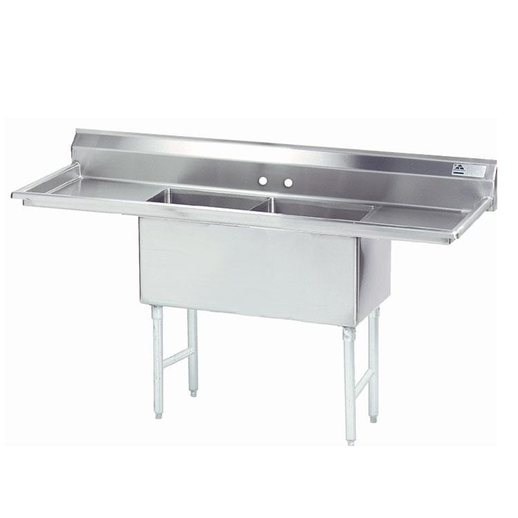 """Advance Tabco FS-2-2424-18RL 84"""" 2-Compartment Sink w/ 24""""L x 24""""W Bowl, 14"""" Deep"""