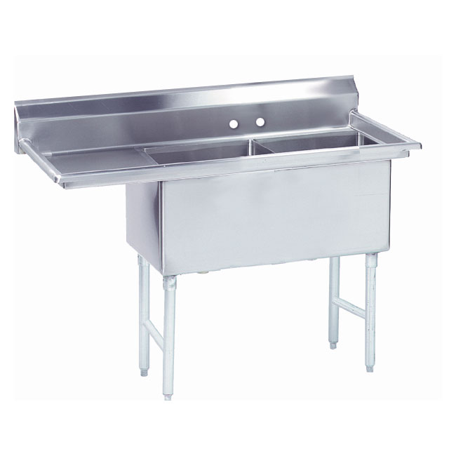 "Advance Tabco FS-2-2424-24L 74.5"" 2-Compartment Sink w/ 24""L x 24""W Bowl, 14"" Deep"