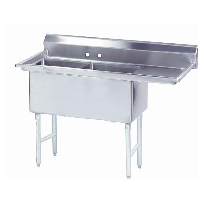 """Advance Tabco FS-2-2424-24R 74.5"""" 2-Compartment Sink w/ 24""""L x 24""""W Bowl, 14"""" Deep"""