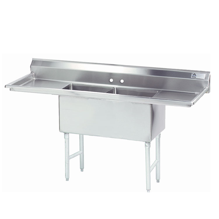 "Advance Tabco FS-2-2424-24RL 96"" 2-Compartment Sink w/ 24""L x 24""W Bowl, 14"" Deep"