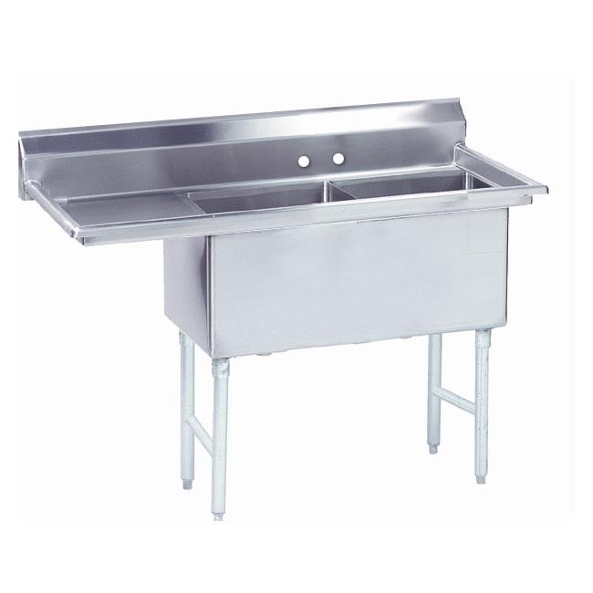 """Advance Tabco FS-2-3024-24L 86.5"""" 2-Compartment Sink w/ 30""""L x 24""""W Bowl, 14"""" Deep"""