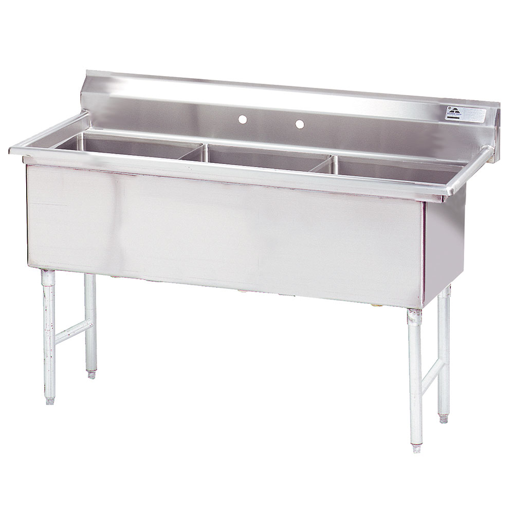 "Advance Tabco FS-3-1818 59"" 3-Compartment Sink w/ 18""L x 18""W Bowl, 14"" Deep"