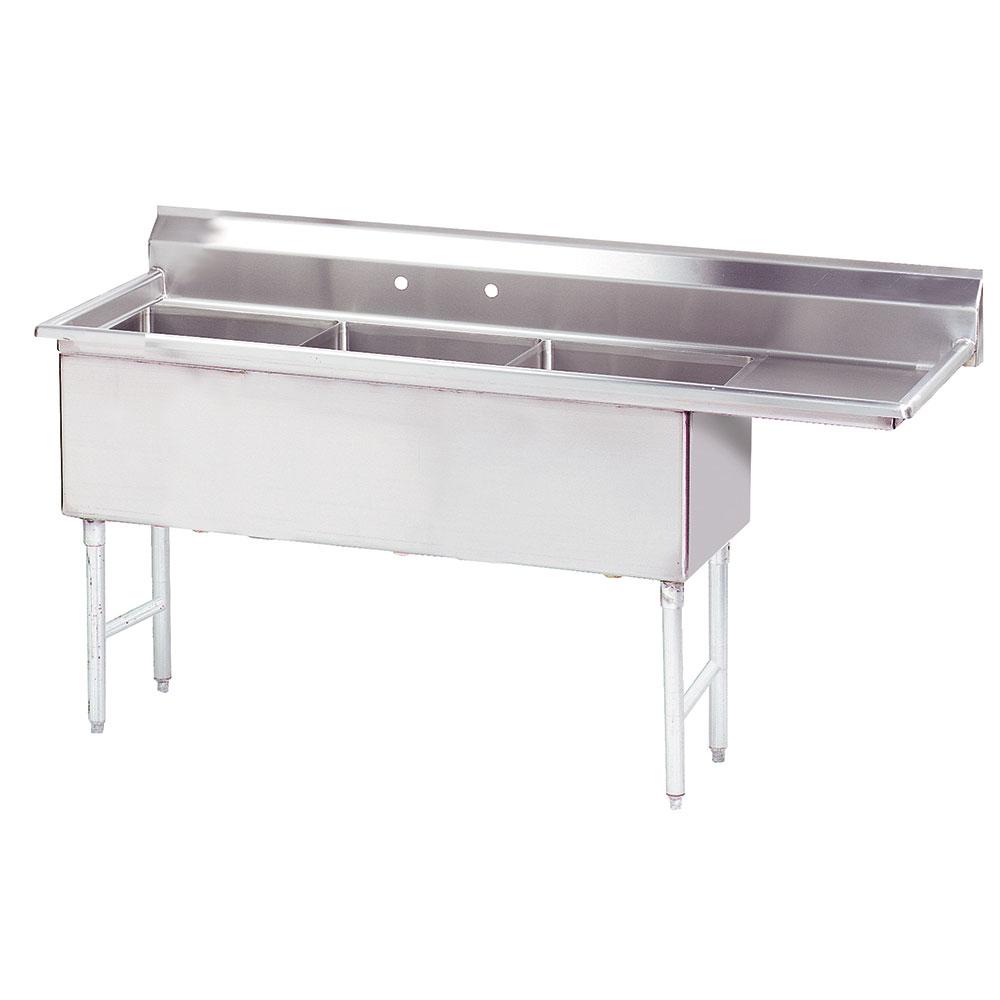 """Advance Tabco FS-3-2424-18R 92.5"""" 3-Compartment Sink w/ 24""""L x 24""""W Bowl, 14"""" Deep"""