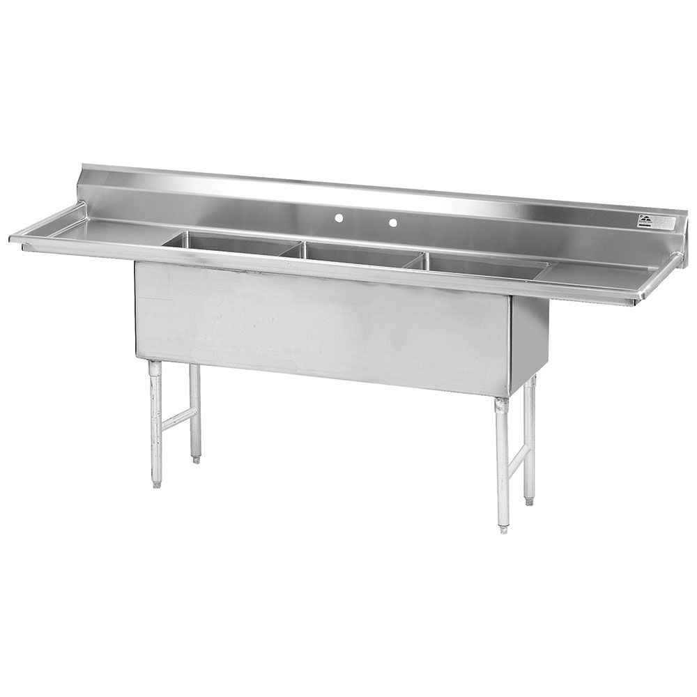 "Advance Tabco FS-3-2424-18RL 108"" 3-Compartment Sink w/ 24""L x 24""W Bowl, 14"" Deep"