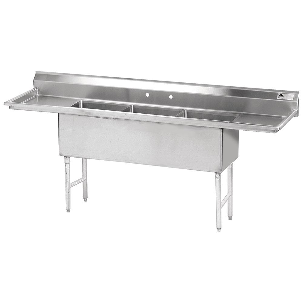 """Advance Tabco FS-3-2424-24RL 120"""" 3-Compartment Sink w/ 24""""L x 24""""W Bowl, 14"""" Deep"""