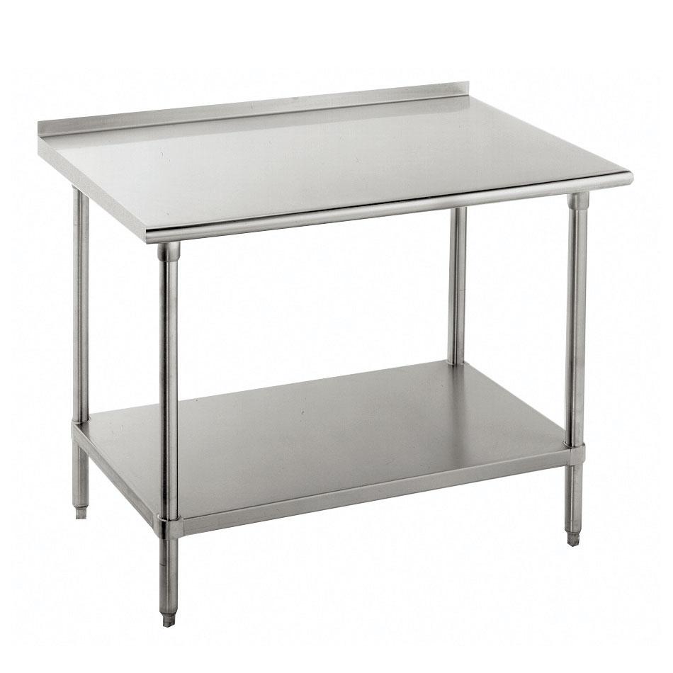 "Advance Tabco FSS-308 96"" 14-ga Work Table w/ Undershelf & 304-Series Stainless Top, 1.5"" Backsplash"