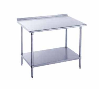 Advance Tabco FSS-3610 36 x 120 in L Table Adjustable Undershelf SS 1-1/2 in Rear Splash 14 Gauge Restaurant Supply
