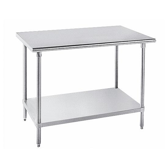 "Advance Tabco GLG-308 96"" 14-ga Work Table w/ Undershelf & 304-Series Stainless Flat Top"