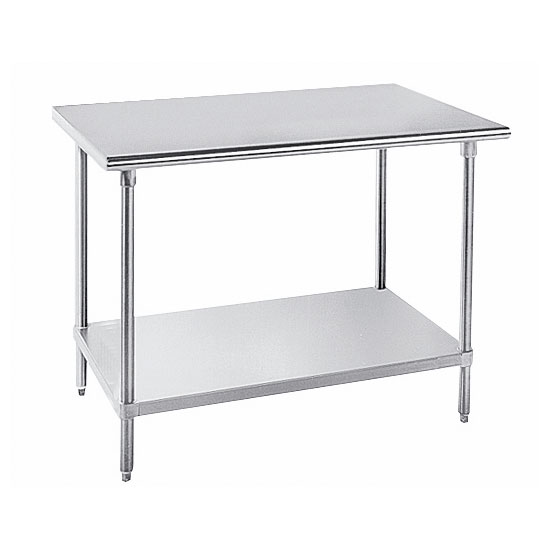 "Advance Tabco GLG-368 96"" 14-ga Work Table w/ Undershelf & 304-Series Stainless Flat Top"