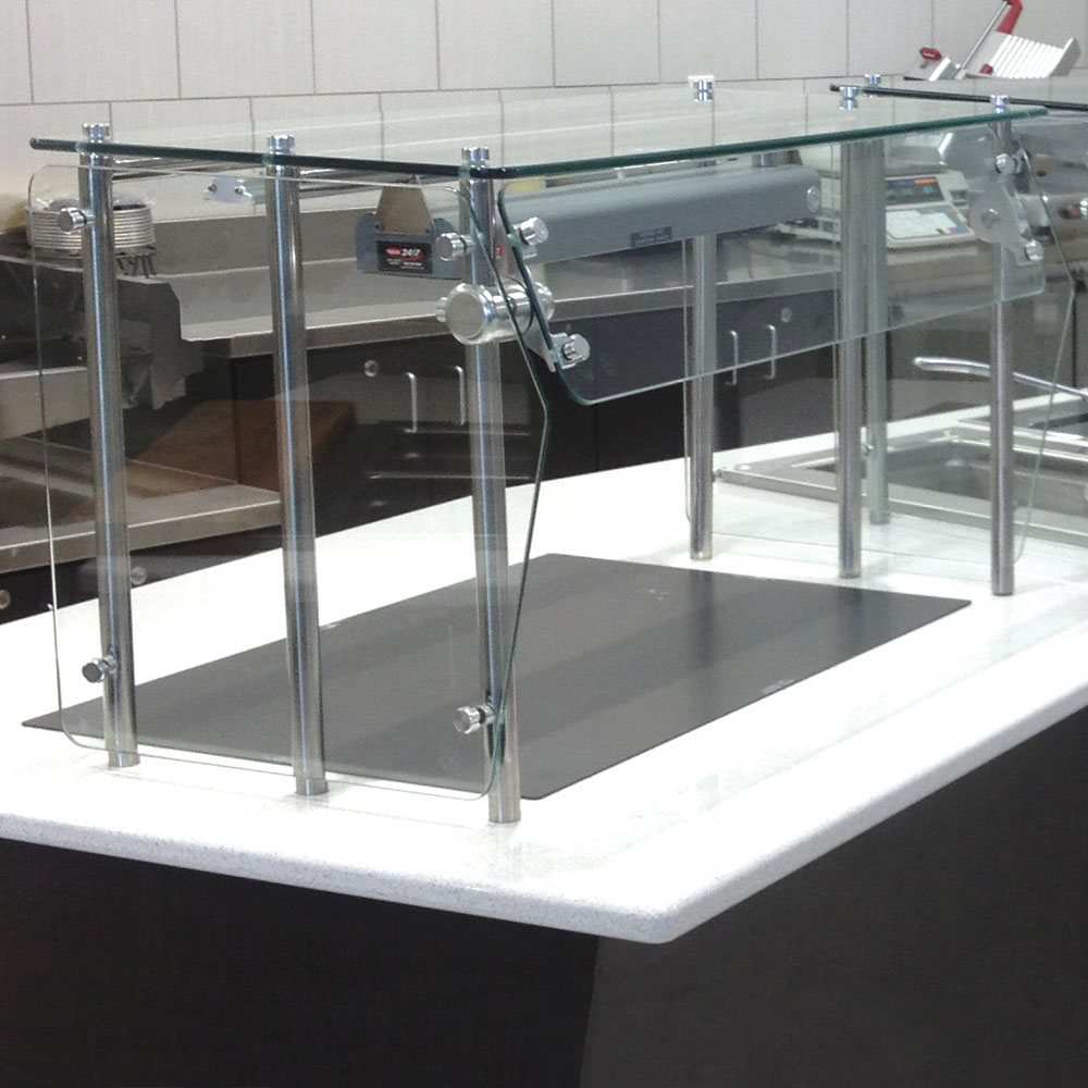 Advance Tabco GSG-12-132 Self Service Shield - Heat Tempered Glass Top Shelf, Side Panels, 12x132x18