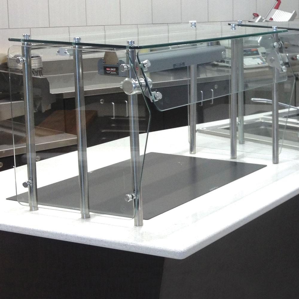 Advance Tabco GSG-12-84 Self Service Shield - Heat Tempered Glass Top Shelf, Side Panels, 12x84x18
