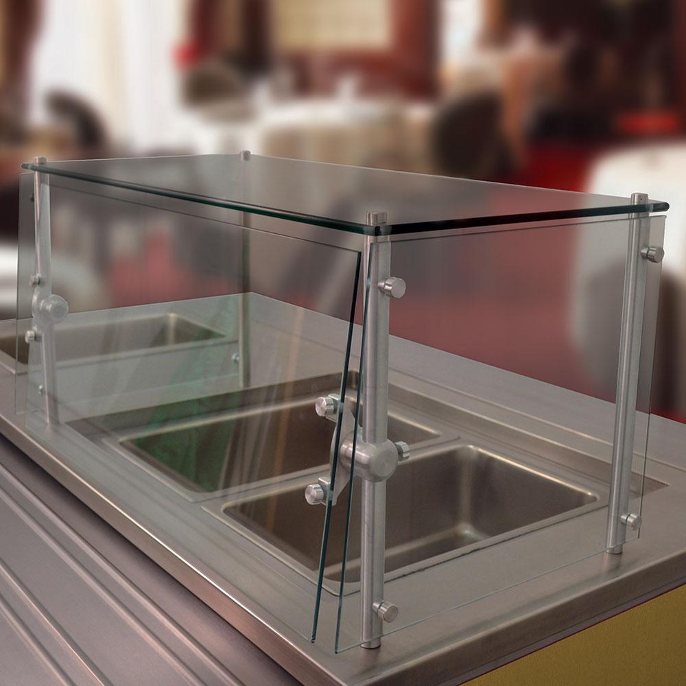 Advance Tabco GSGC-18-96 Cafeteria Style Food Shield - Glass Top Shelf, 100-lb Capacity, 18x96x18