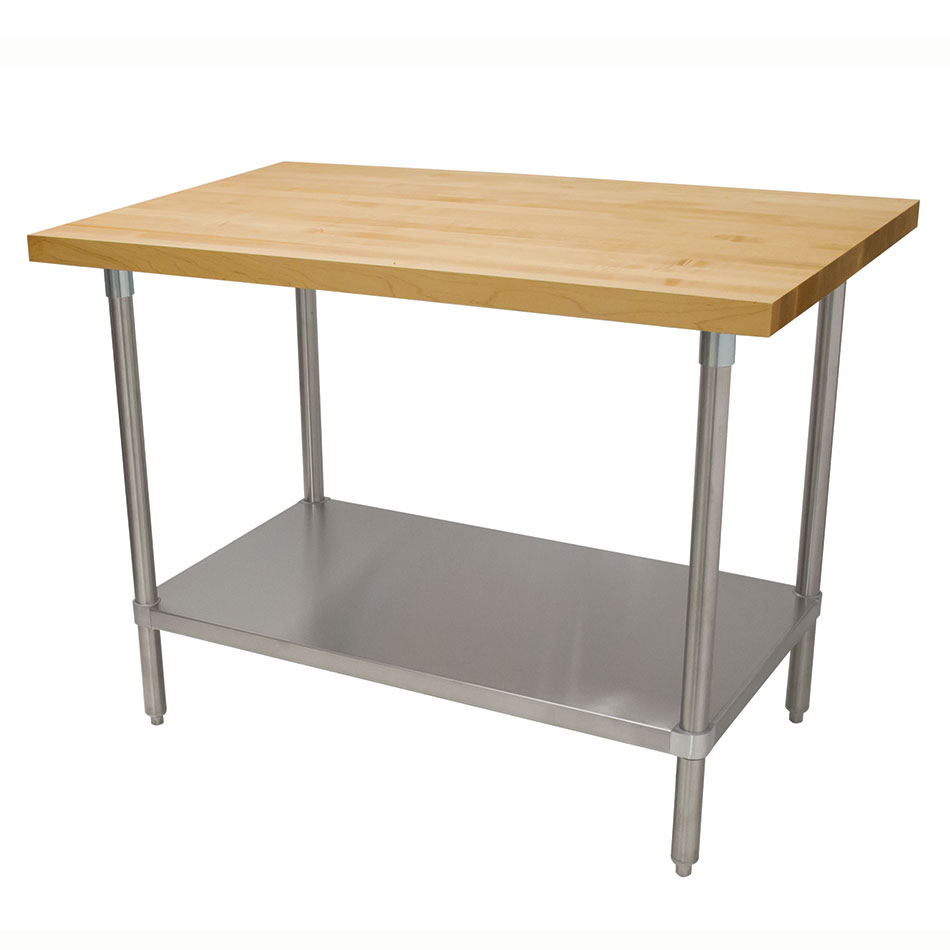 "Advance Tabco H2G-308 1.75"" Maple Top Work Table w/ Undershelf, 96""L x 30""D"