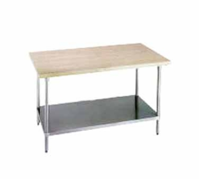 Advance Tabco H2G-366 36 x 72 in L Work Table w/o Splash Galvanized Undershelf 1-3/4 Thick Wood Top Restaurant Supply