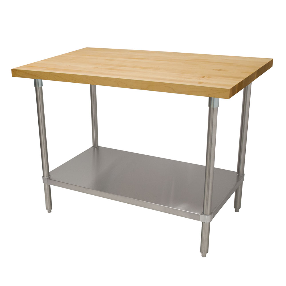 "Advance Tabco H2S-245 1.75"" Maple Top Work Table w/ Undershelf, 60""L x 24""D"