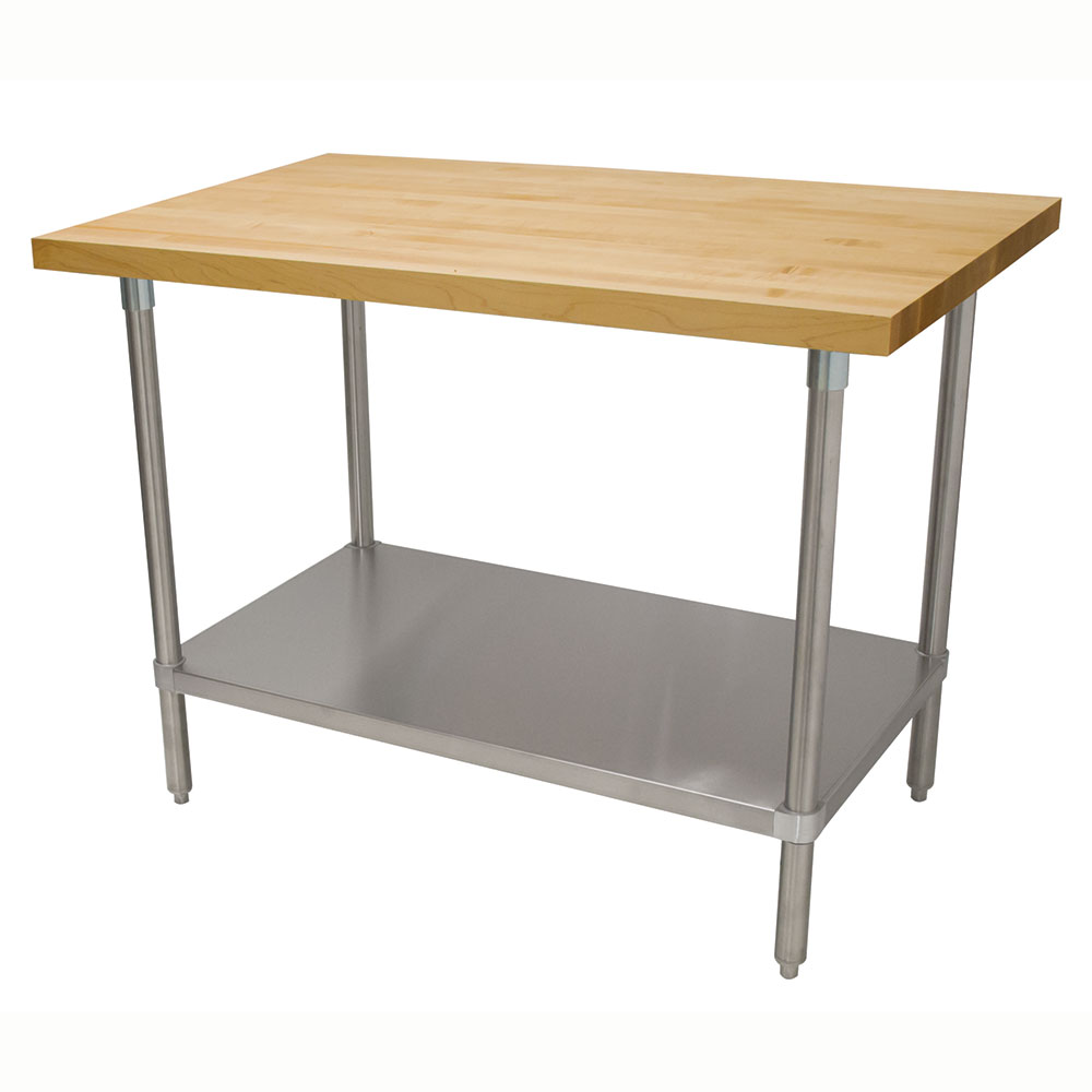 "Advance Tabco H2S-366 1.75"" Maple Top Work Table w/ Undershelf, 72""L x 36""D"
