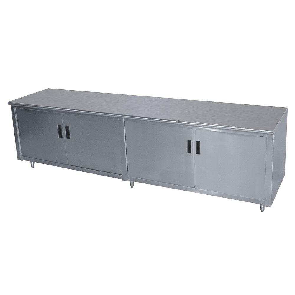 "Advance Tabco HB-SS-2410M 120"" Enclosed Work Table w/ Swing Doors & Midshelf, 24""D"