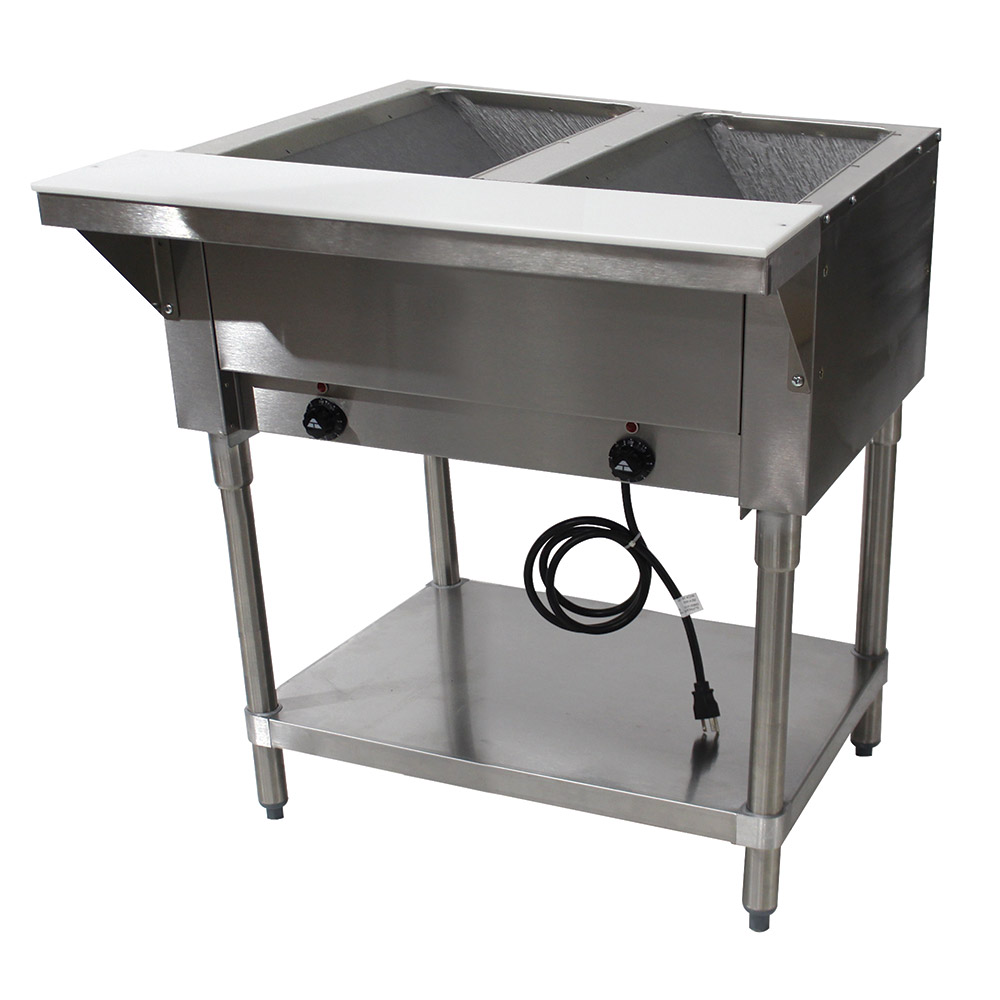 """Advance Tabco HF-2E-120 34"""" Hot Food Table w/ 2-Wells, Open Stainless Base w/ Undershelf"""