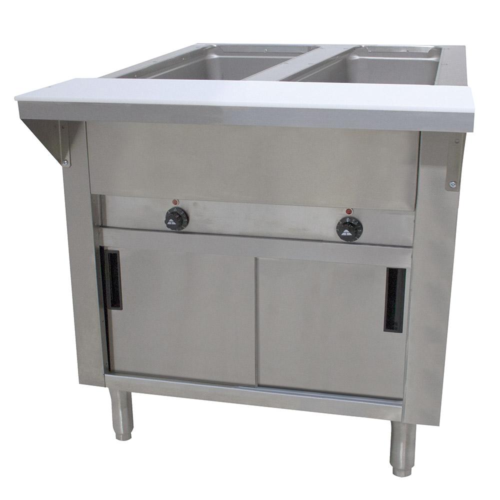 "Advance Tabco HF-2E-120-DR 34"" Hot Food Table w/ 2-Wells, Cabinet Base w/ Sliding Doors"