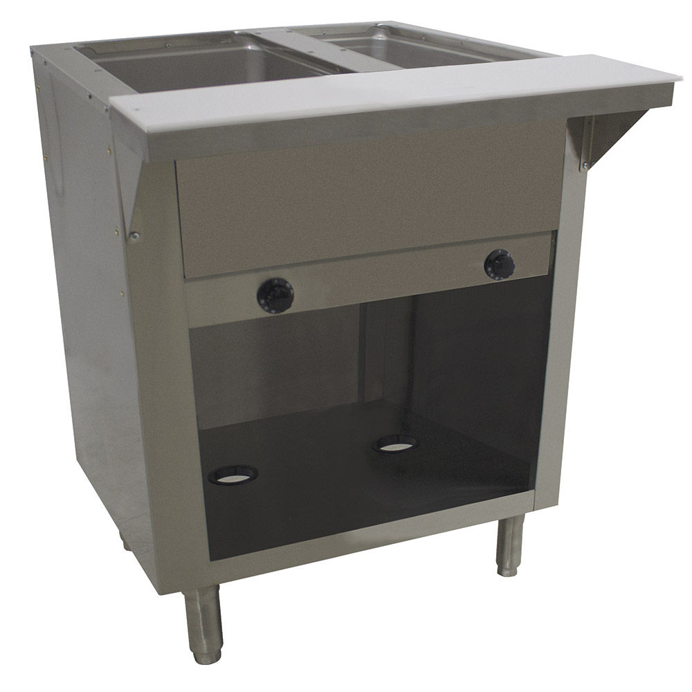 "Advance Tabco HF-2G-NAT-BS 34"" Hot Food Table w/ 2-Wells, Cabinet Base w/ Open Undershelf, NG"
