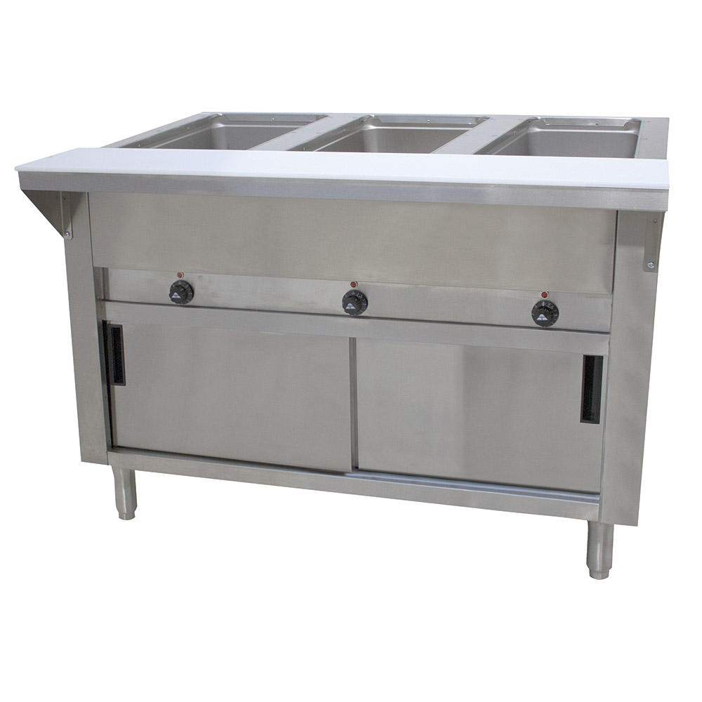 "Advance Tabco HF-3E-120-DR 34"" Hot Food Table w/ 3-Wells, Cabinet Base w/ Sliding Doors"
