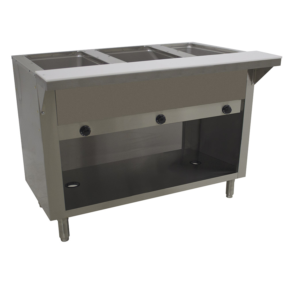 "Advance Tabco HF-3G-LP-BS 34"" Hot Food Table w/ 3-Wells, Cabinet Base w/ Open Undershelf, LP"