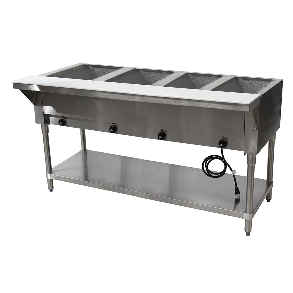 """Advance Tabco HF-4E-240-X 62.38"""" Steamtable Hot Food Unit w/ (4) Wells & Carving Board, 208-240v/1ph"""