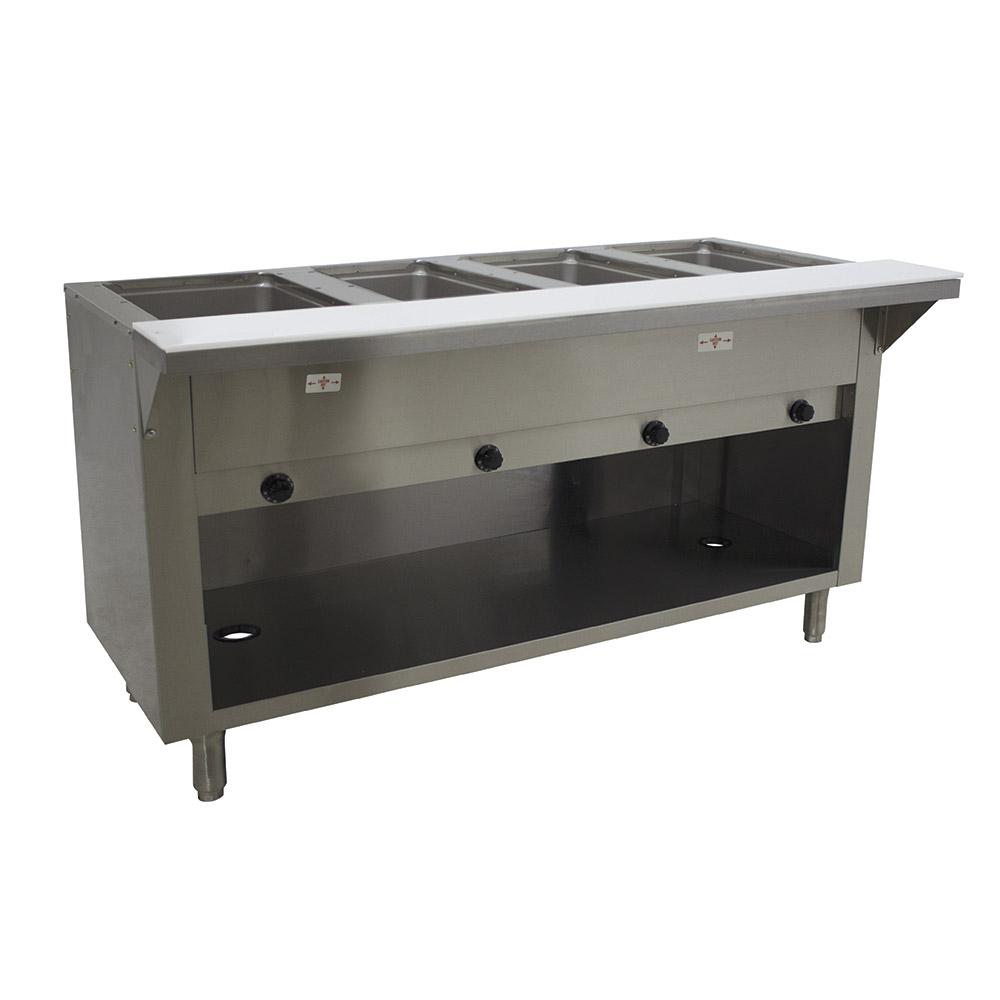 "Advance Tabco HF-4G-NAT-BS 34"" Hot Food Table w/ 4-Wells, Open Base w/ Undershelf, NG"