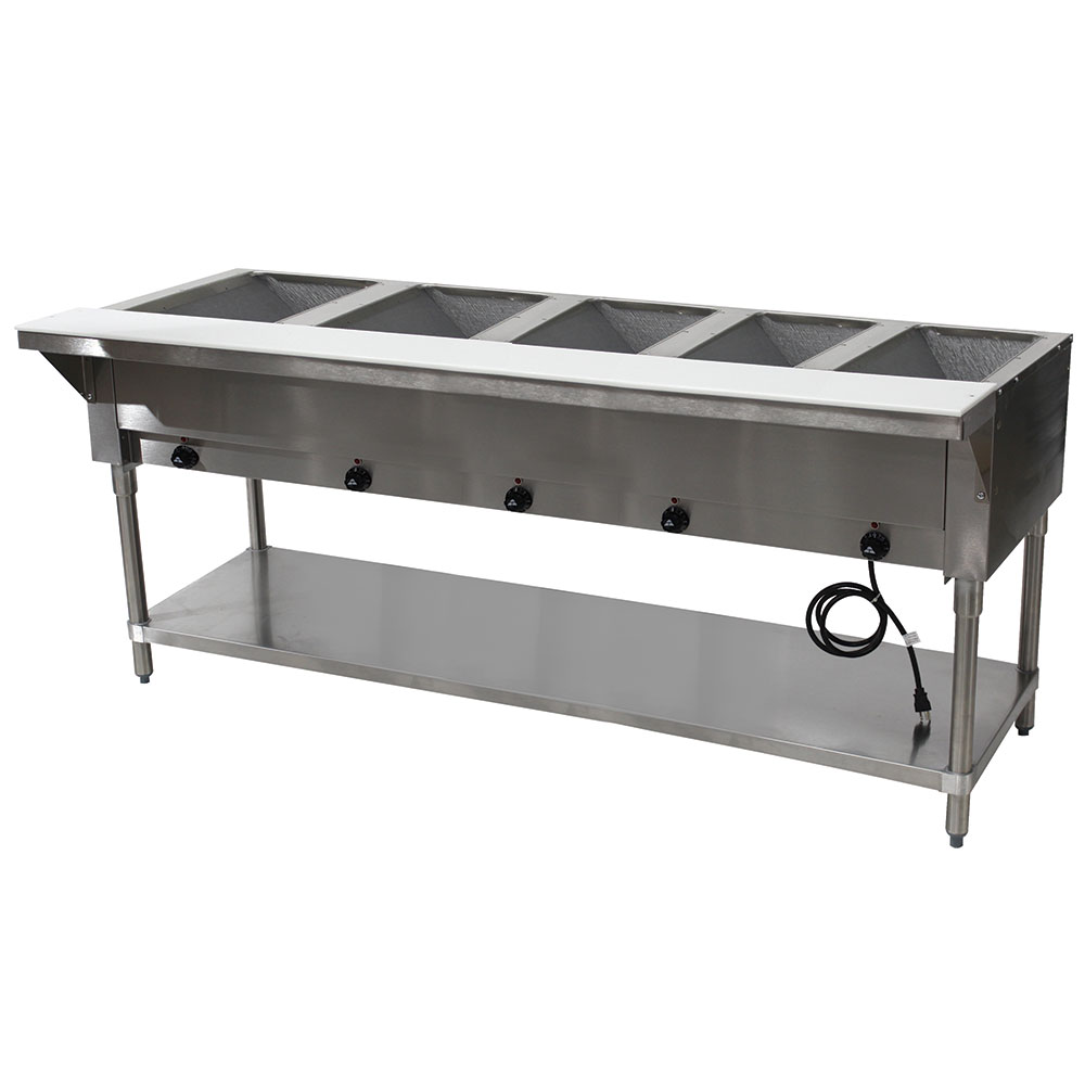 "Advance Tabco HF-5E-240-X 77.75"" Steamtable Hot Food Unit w/ (5) Wells & Carving Board, 208-240v/1ph"