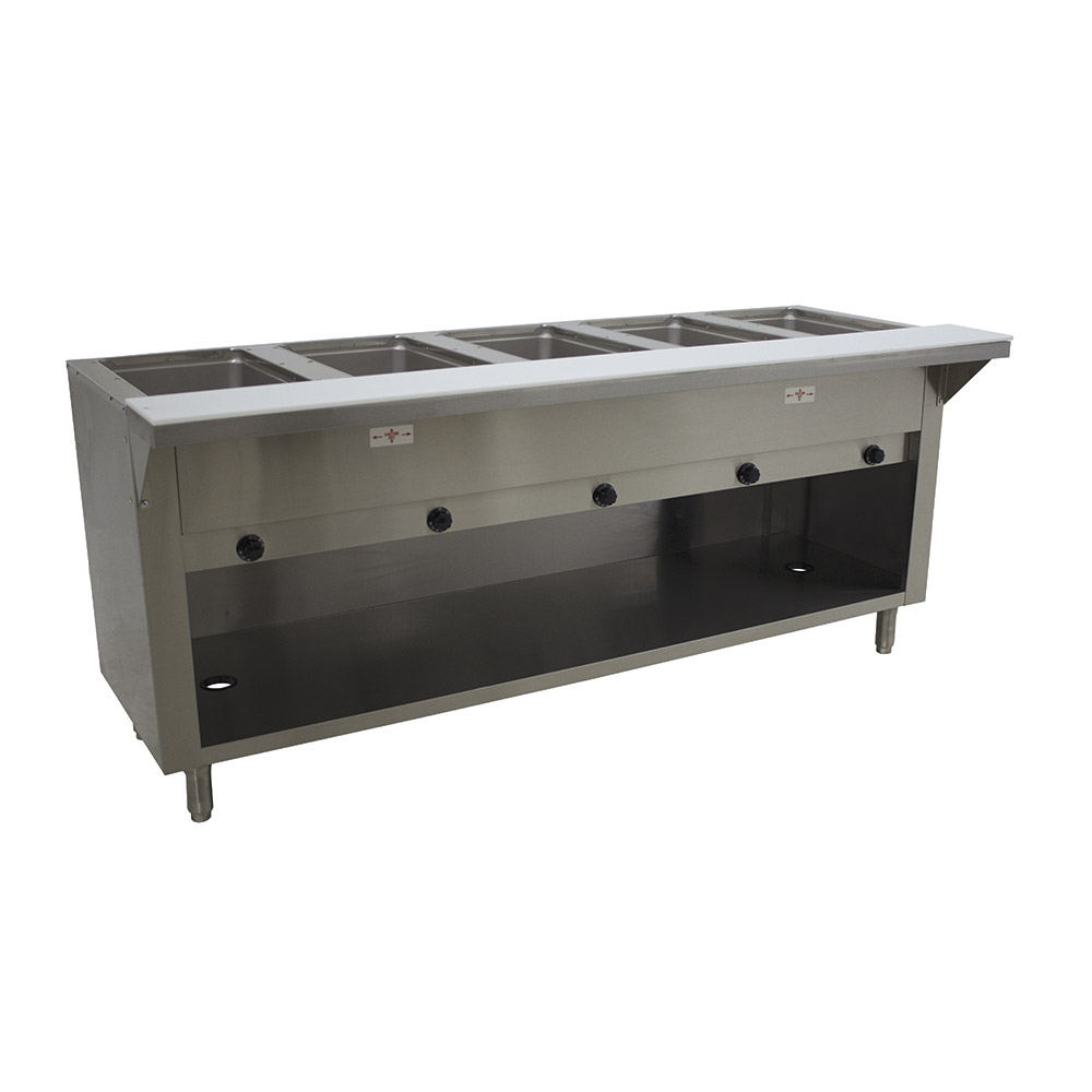 "Advance Tabco HF-5G-LP-BS 34"" Hot Food Table w/ 5-Wells, Stainless Cabinet Base w/ Open Undershelf, LP"
